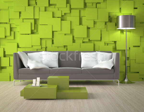 Green blocks wall and furniture Stock photo © arquiplay77