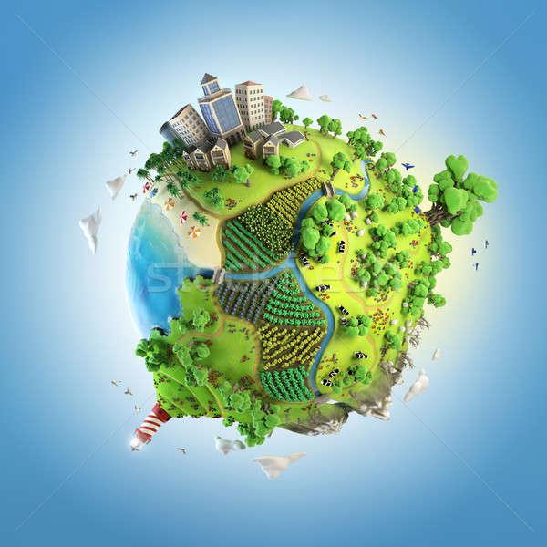 Mundo idílico verde mundo pacífico Foto stock © arquiplay77