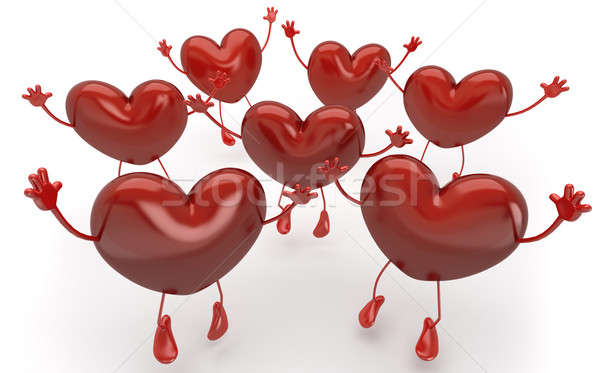 happy hearts series, many red hearts jumping to be choosen among Stock photo © arquiplay77