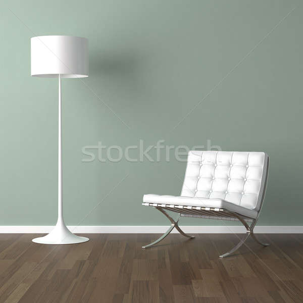 Barcelona Chair White white barcelona chair and lamp on green stock photo © pablo