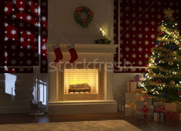 Kamin · weihnachten · silhouette · nacht · baum · präsentiert ...