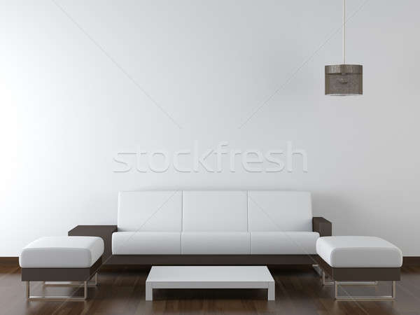 Diseno interior moderna blanco muebles pared marrón Foto stock © arquiplay77