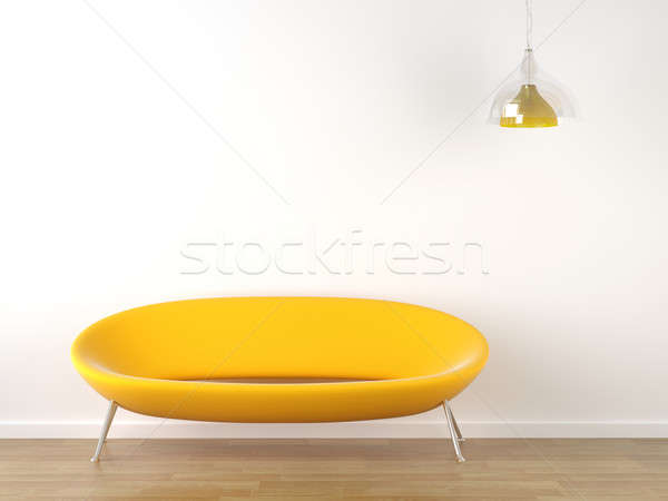 interior design yellow couch on white Stock photo © arquiplay77