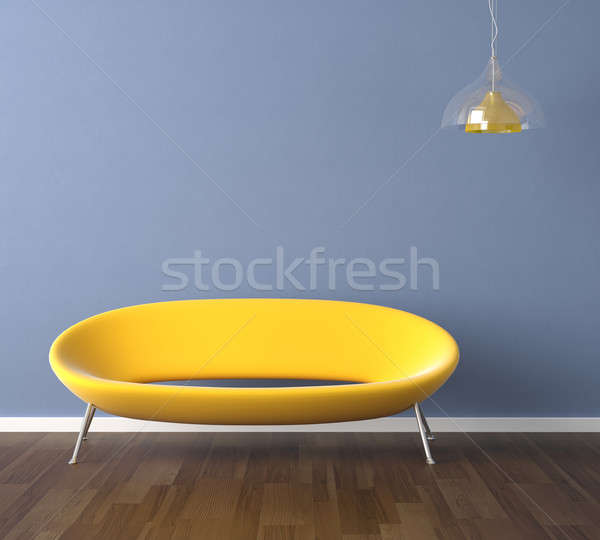 Foto stock: Azul · pared · amarillo · sofá · diseno · interior · escena