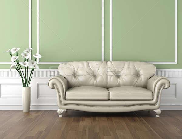 Stock fotó: Zöld · fehér · klasszikus · belső · belsőépítészet · szoba