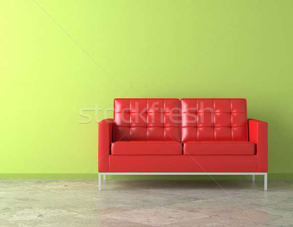 Rojo sofá verde pared interior escena Foto stock © arquiplay77