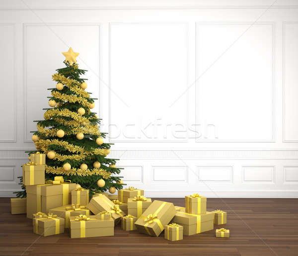 golden christmas tree in white room Stock photo © arquiplay77