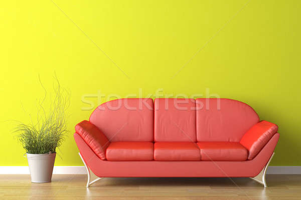 interior design red couch on green Stock photo © arquiplay77