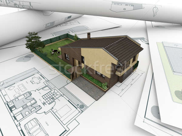 architectural drawings and house_2 Stock photo © arquiplay77