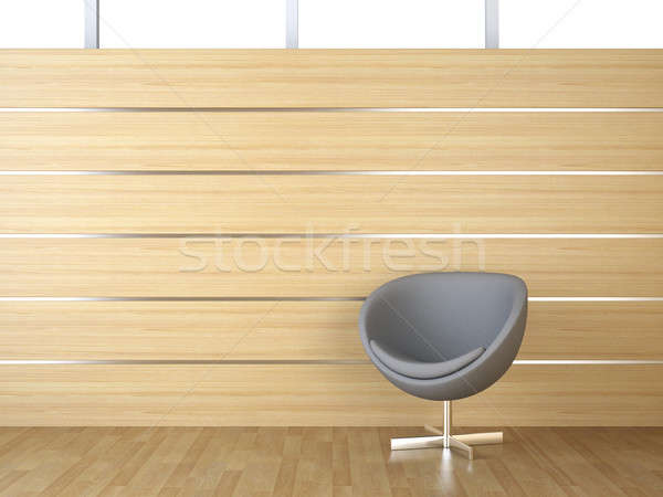 interior design wood cladding and chair Stock photo © arquiplay77