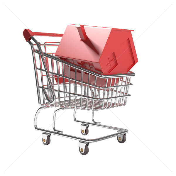 isolated shopping cart with red icon house Stock photo © arquiplay77