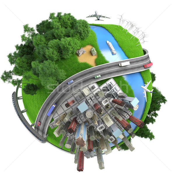 Stock photo: Isolated miniature globe tranports and life styles