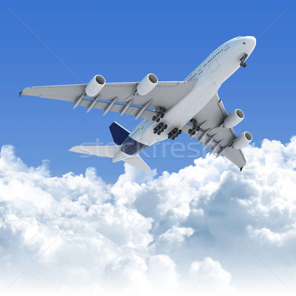 airplane flying over the clouds after takeoff Stock photo © arquiplay77
