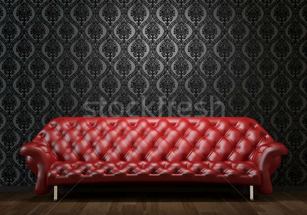 red leather couch on black wall Stock photo © arquiplay77
