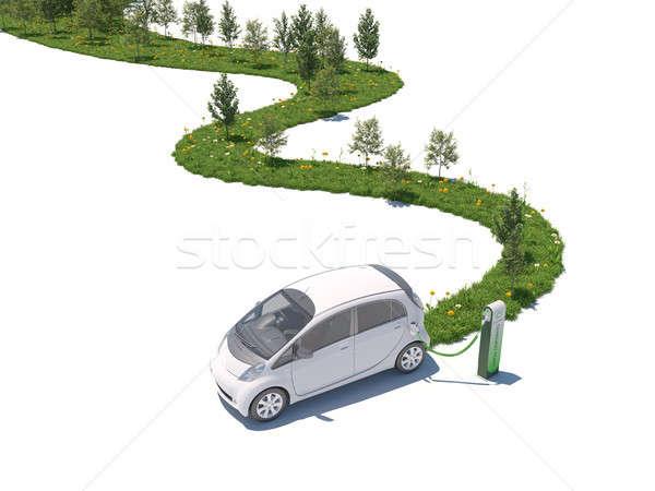 Voiture électrique vert 3D nature chemin Photo stock © arquiplay77