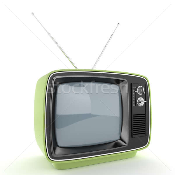 Verde retro tv perspectiva aislado blanco Foto stock © arquiplay77