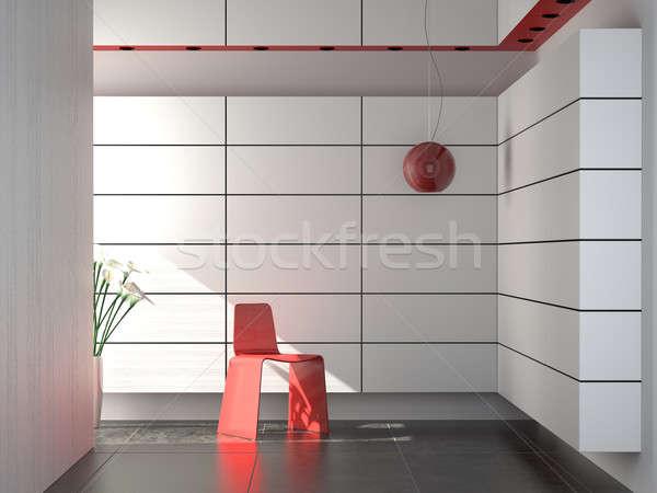 Stockfoto: Interieur · moderne · Rood · witte · zwarte · stoel