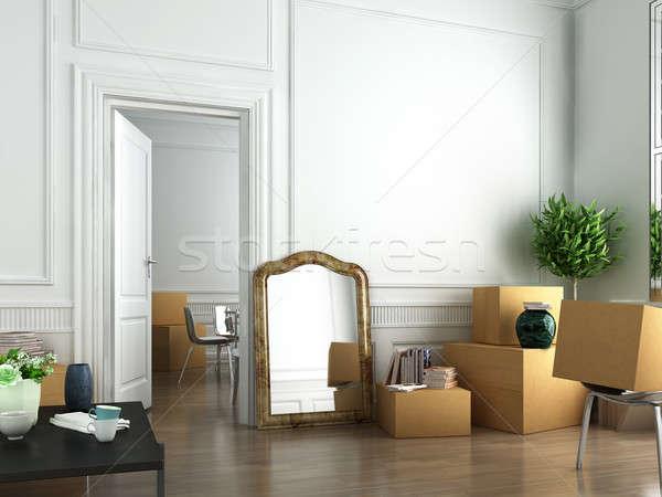 Mozog új belső jelenet nap ház Stock fotó © arquiplay77
