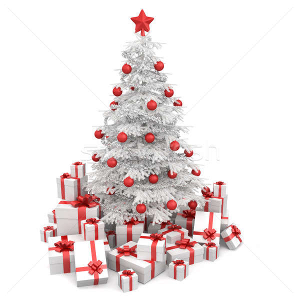 Stock photo: white and red isoloated christmas tree