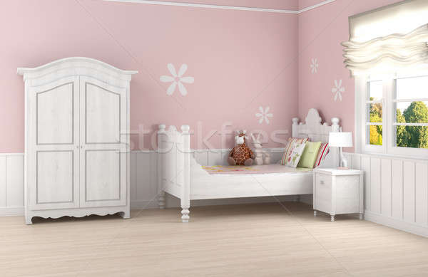 Pink girl's bedroom Stock photo © arquiplay77