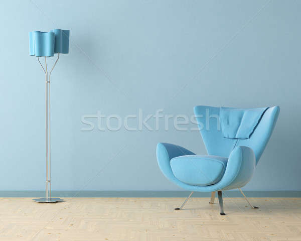 Stock photo: blue interior design scene