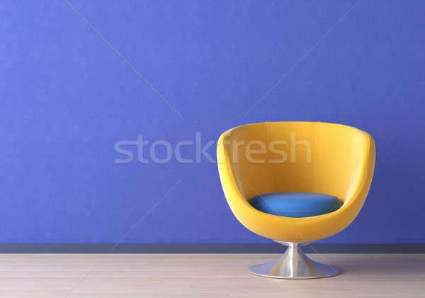 Interior design with yellow chair on blue Stock photo © arquiplay77