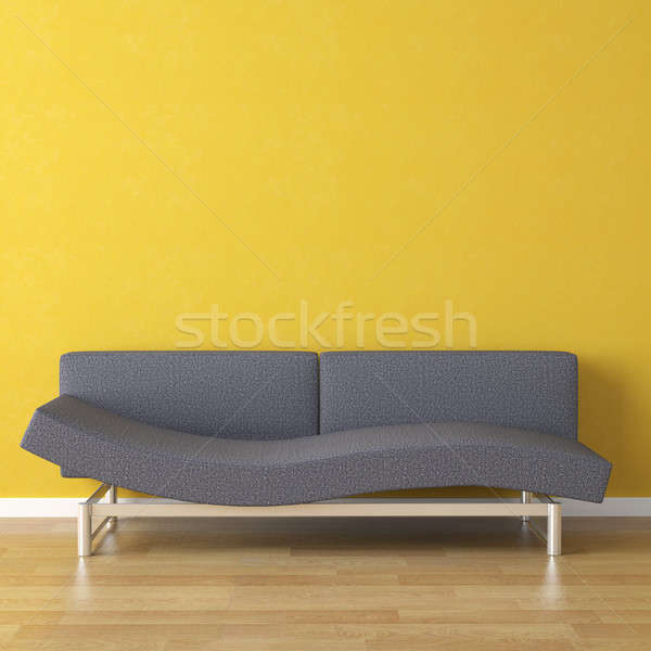 Foto stock: Diseno · interior · azul · sofá · amarillo · escena · pared