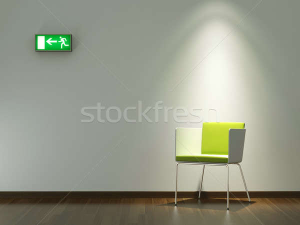 Diseno interior verde silla blanco pared moderna Foto stock © arquiplay77