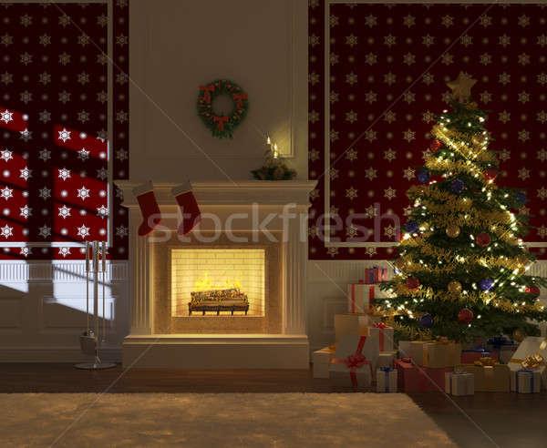 Сток-фото: украшенный · рождество · камин · мнение