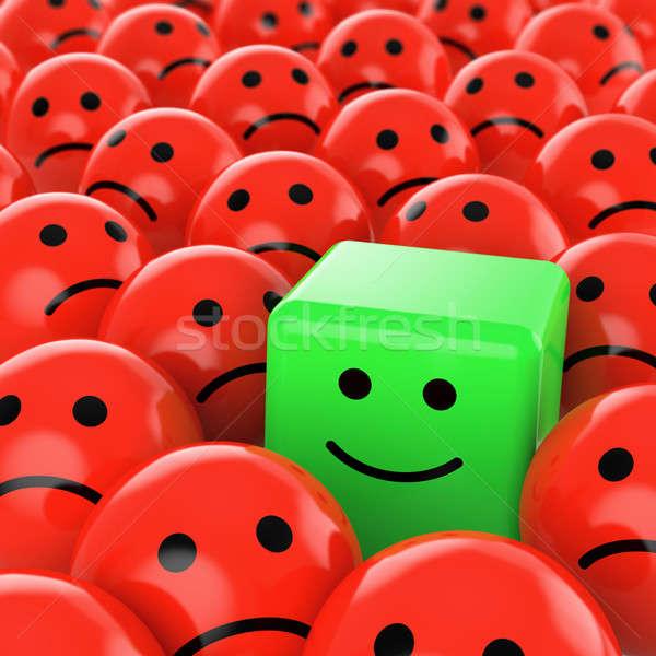 Groene kubus gelukkig veel Rood Stockfoto © arquiplay77