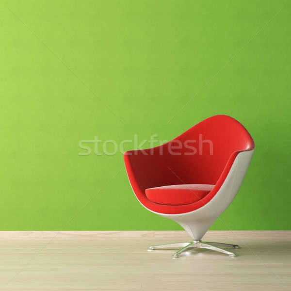 Interior design of red chair on green wall Stock photo © arquiplay77