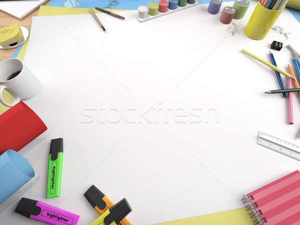 Blanche toile espace de copie dessin table Photo stock © arquiplay77
