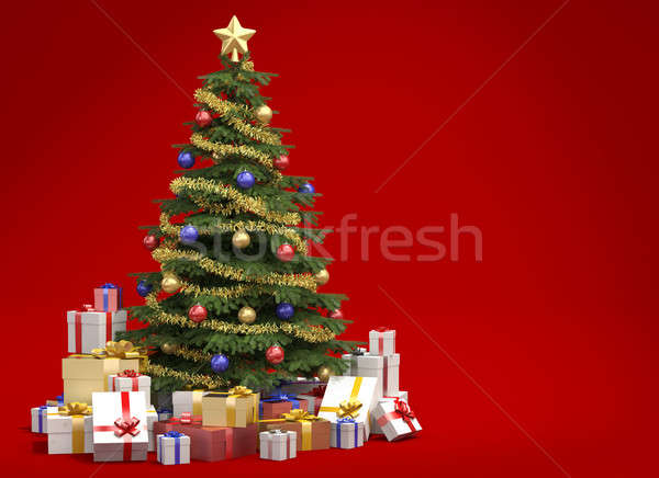 Christmas tree on red background with copy space Stock photo © arquiplay77
