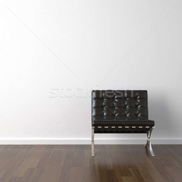 black leather chair on white wall Stock photo © arquiplay77