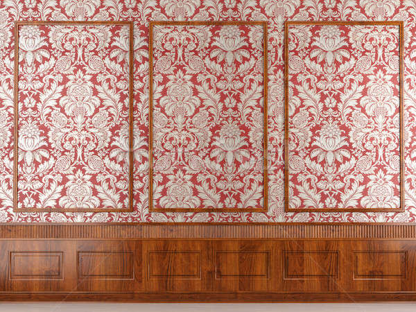red wallpaper and wood molding Stock photo © arquiplay77