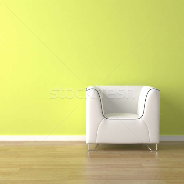 Stock photo: interior design white couch on green