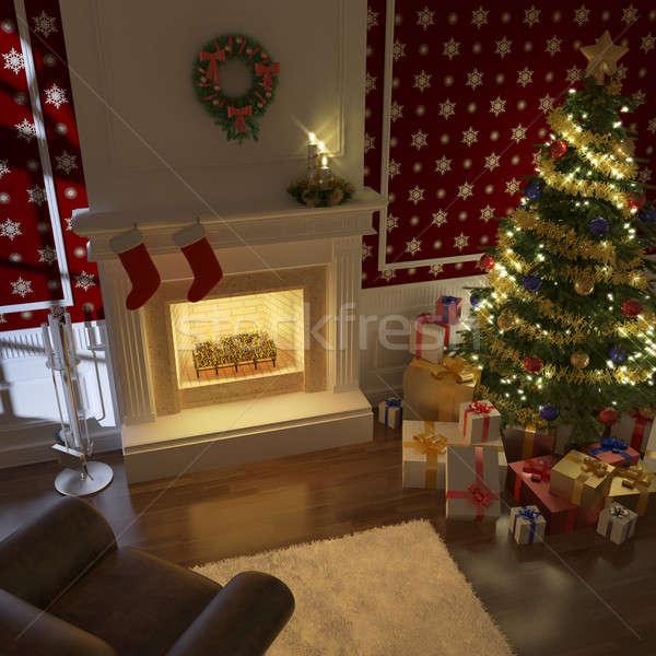 Сток-фото: традиционный · рождество · камин · украшенный · Рождества