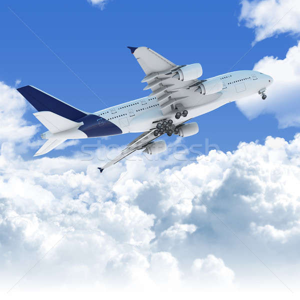 airplane flying over the clouds at takeoff bottom view Stock photo © arquiplay77