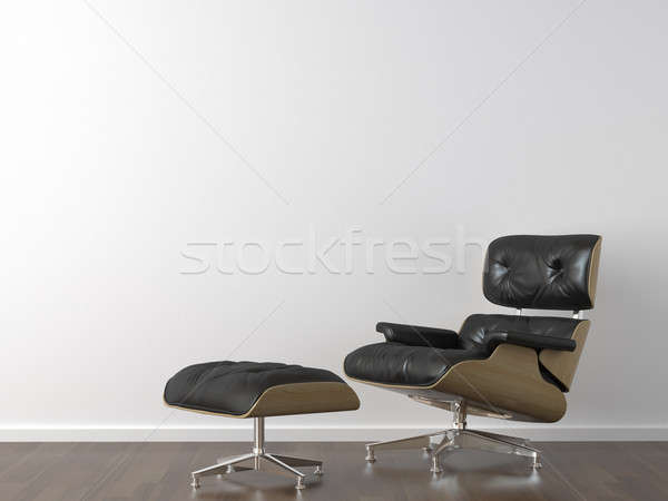 black leather armchair on white wall Stock photo © arquiplay77
