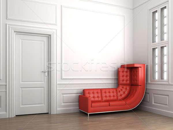 Stock fotó: Mászik · piros · kanapé · klasszikus · fehér · szoba
