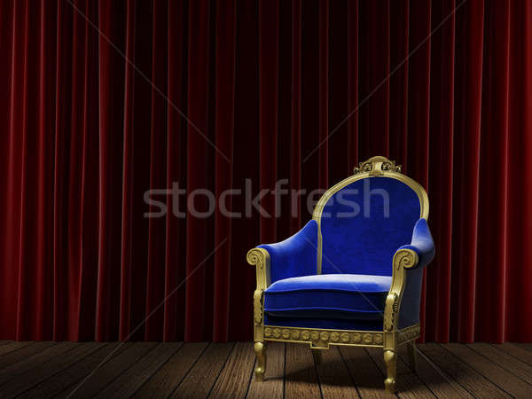 Stock photo: blue classic armchair on red curtain