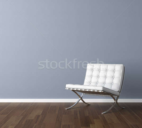 blue wall with white chair interior design Stock photo © arquiplay77