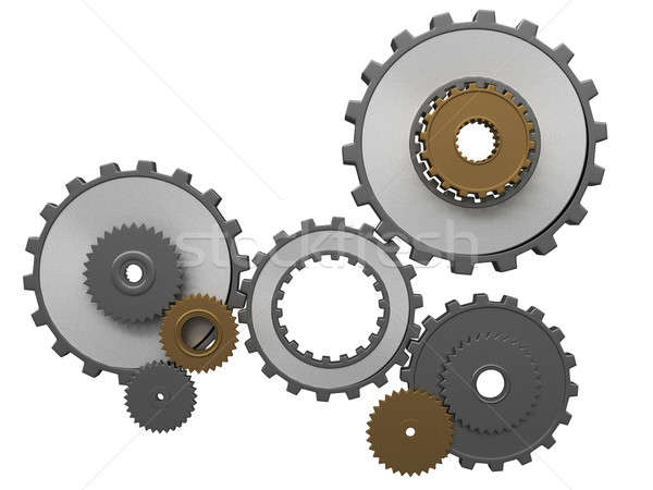 frontal view of gears composition Stock photo © arquiplay77