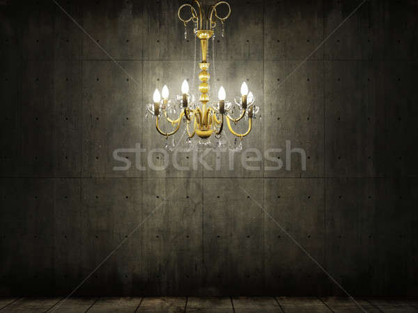 chandelier in dark grungy concrete room Stock photo © arquiplay77