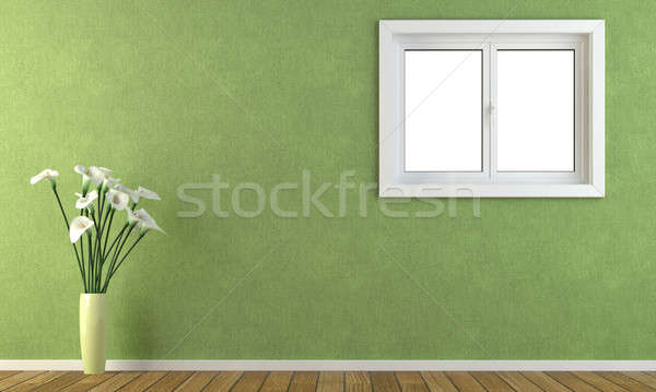 Verde pared ventana interior Foto stock © arquiplay77