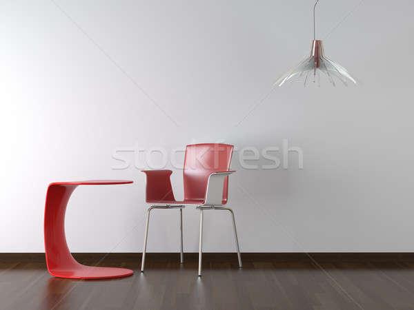 Сток-фото: интерьер · красный · Председатель · таблице · белый · стены