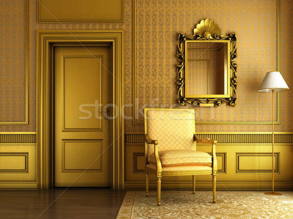 classic palace interior with armchair mirror and golden molding Stock photo © arquiplay77