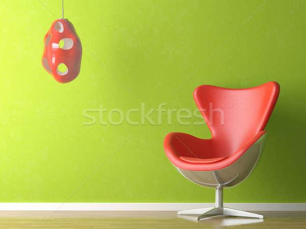 Сток-фото: зеленый · красный · интерьер · 3D · современных · кожа