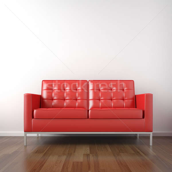 красный диване белый комнату кожа фон Сток-фото © arquiplay77