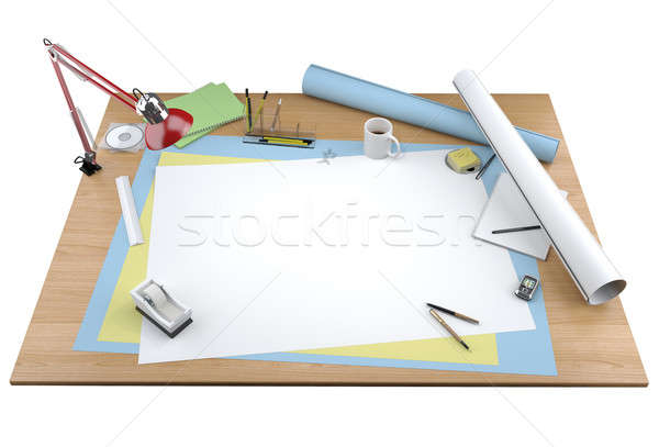 Stock photo: isolated view of designer desktop